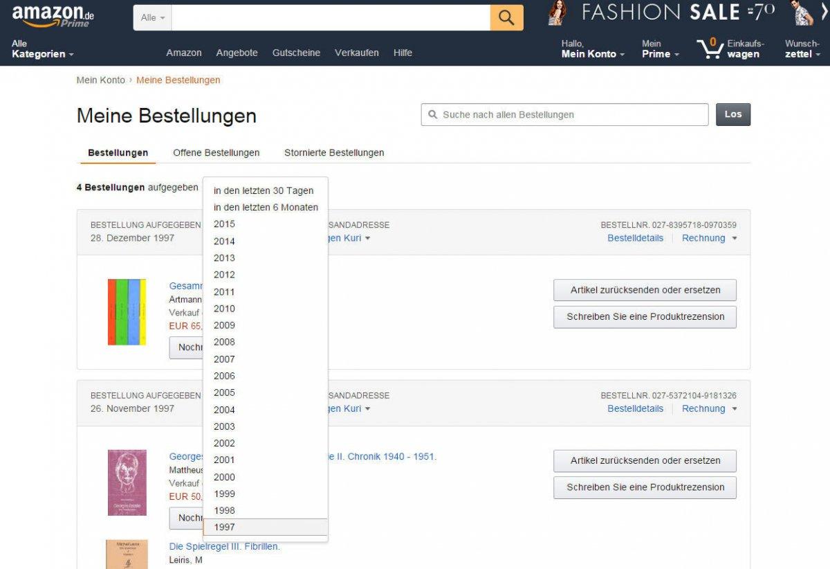 Bestellungen löschen Archivierte bei amazon