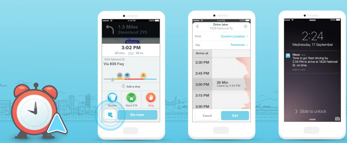 Navi-App Waze erinnert ans rechtzeitige Losfahren