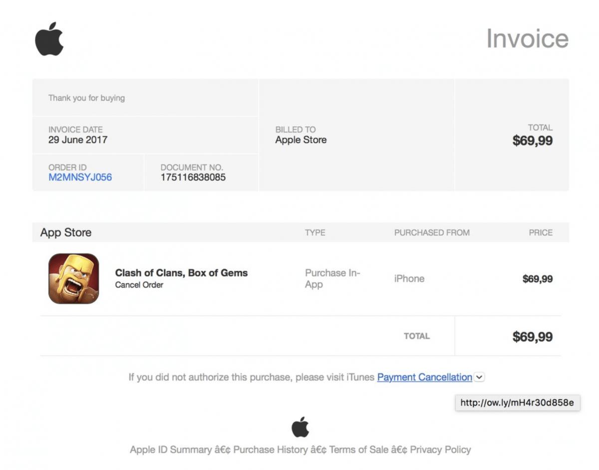 apple id phishing rechnung ber teure in app k ufe als. Black Bedroom Furniture Sets. Home Design Ideas