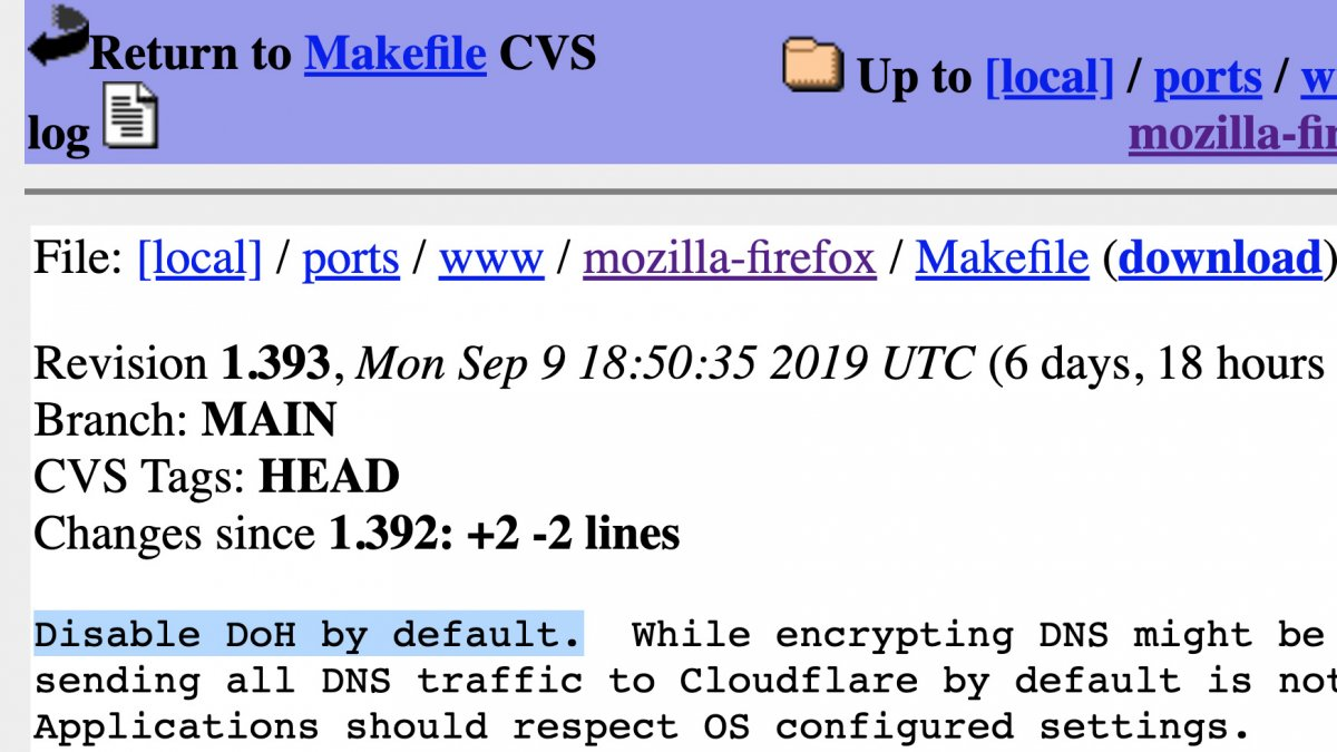 OpenBSD deaktiviert DNS-over-HTTPS in Firefox