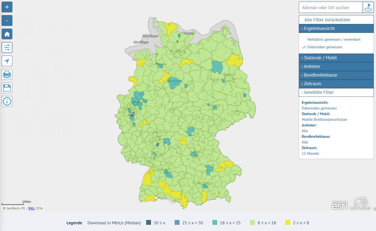 Bundesnetzagentur veröffentlicht Karte mit Ergebnissen der Funkloch-App