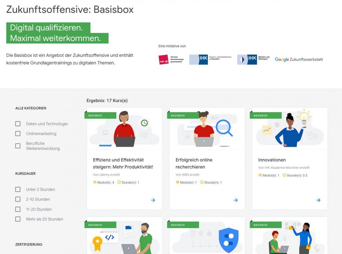 Basisbox: Google und Partner bieten digitale Weiterbildung an