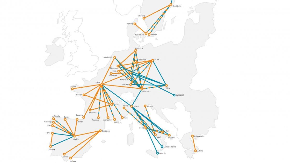 Studie: Wichtige Kurzflugstrecken durch Zugfahrten unter 6 Stunden ersetzbar