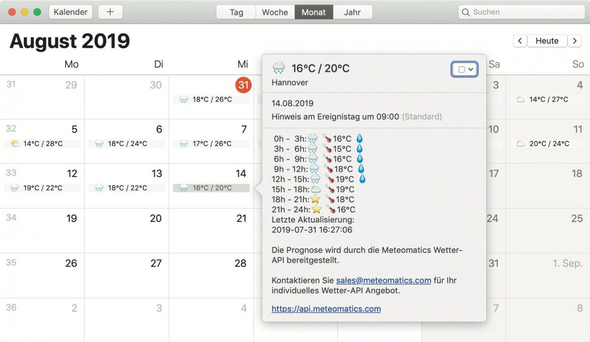 Wetter im Kalender auf iPhone und Mac anzeigen