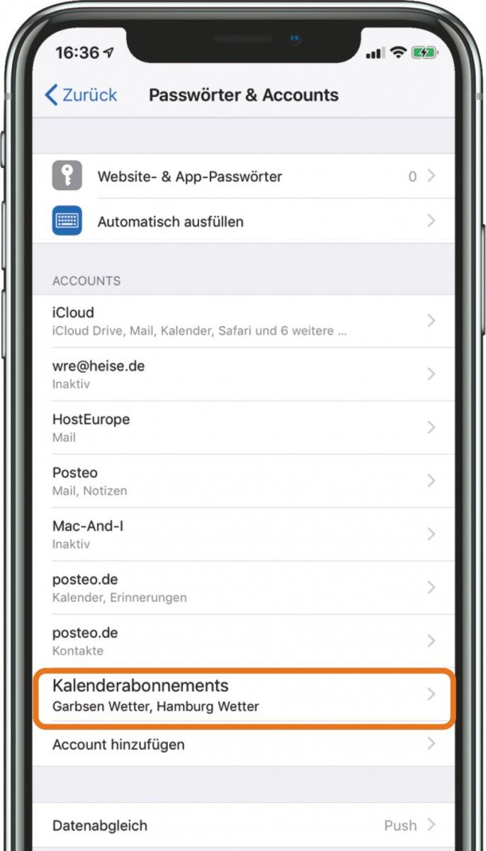 Abonnierte Kalender auf iPhone löschen