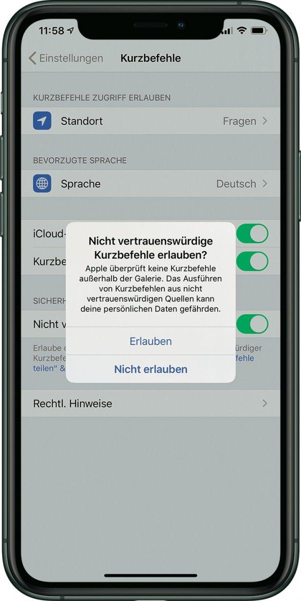 Tipp: Shortcuts teilen – nicht vertrauenswürdige Kurzbefehle erlauben