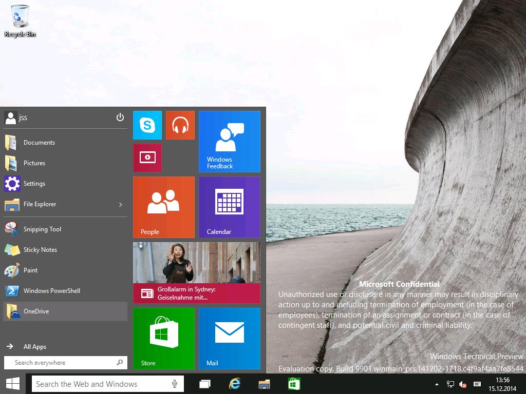 Windows 10 Build 9901: Weitere Verschmelzung von Desktop und Touch
