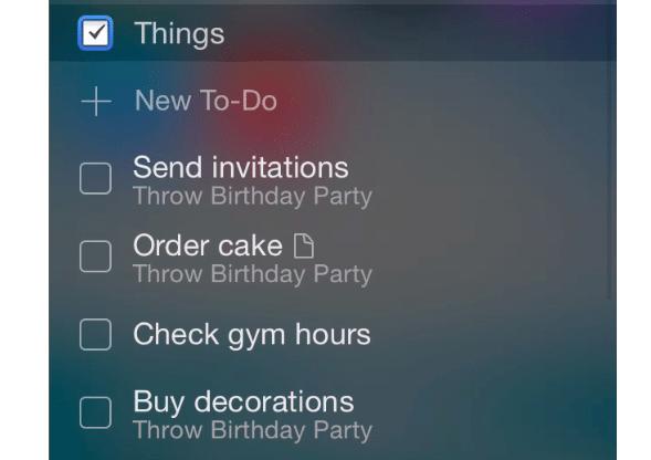 Things erhält To-Do-Widget
