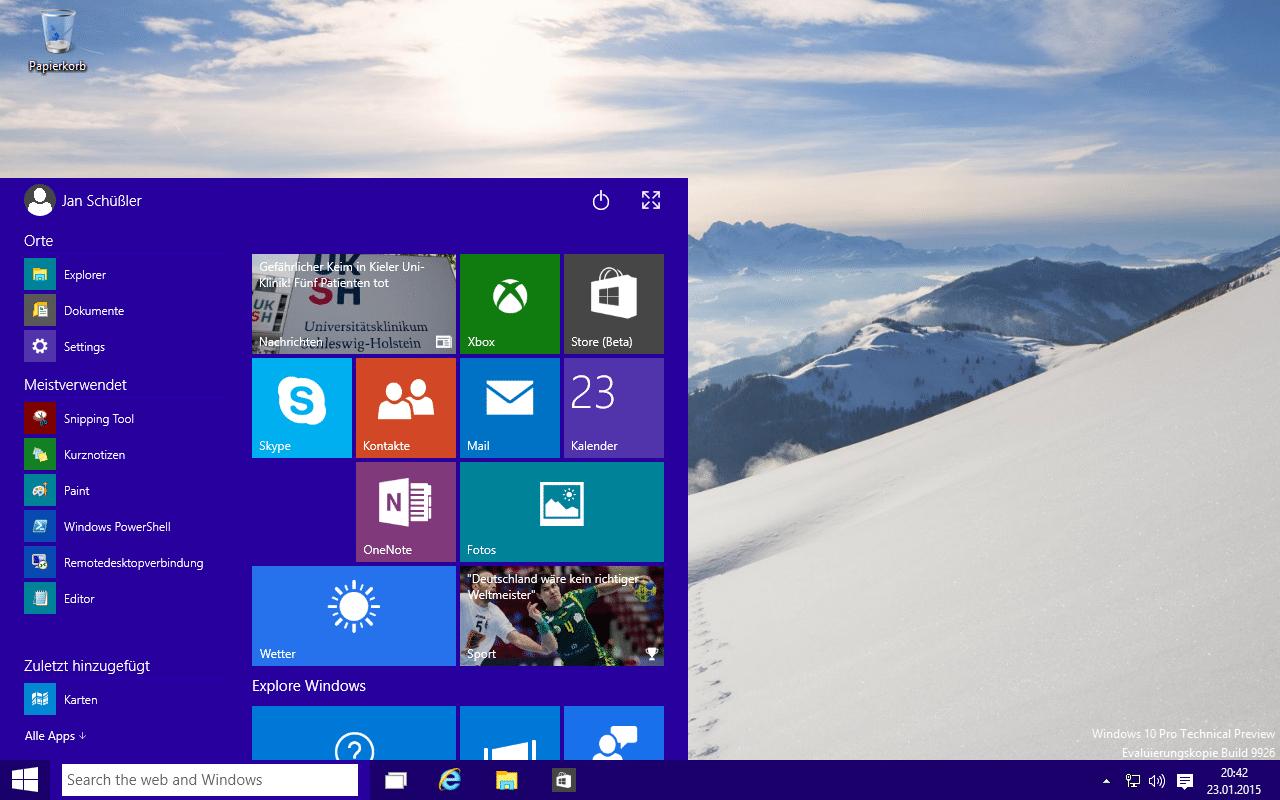 Windows 10 Januar-Vorabversion steht zum freien Download bereit