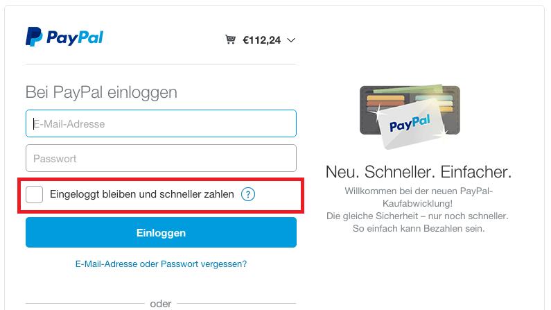 Paypal Login Passwort ändern