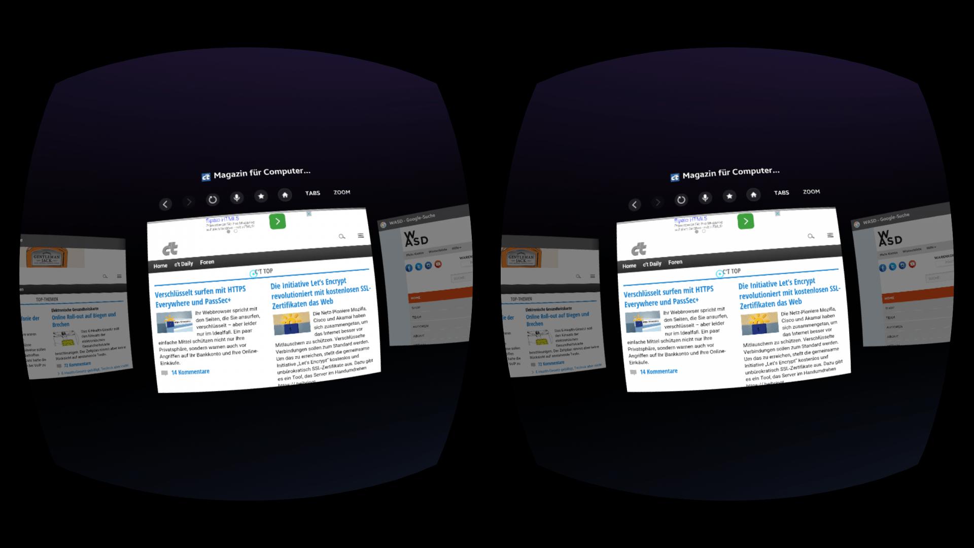 Ausprobiert: Samsungs Virtual-Reality-Browser für Gear VR | heise online