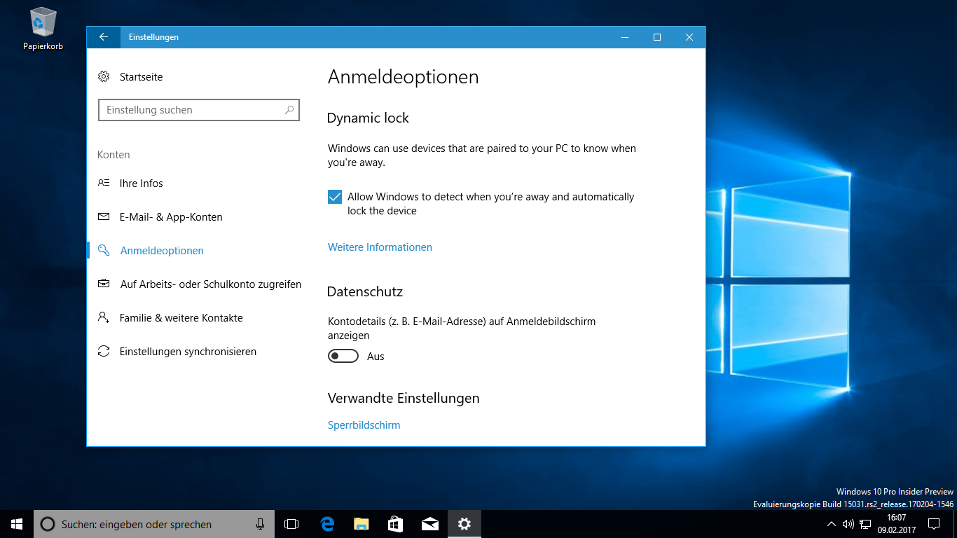 windows 10 insider preview letzte neue funktionen f r creators update heise online. Black Bedroom Furniture Sets. Home Design Ideas