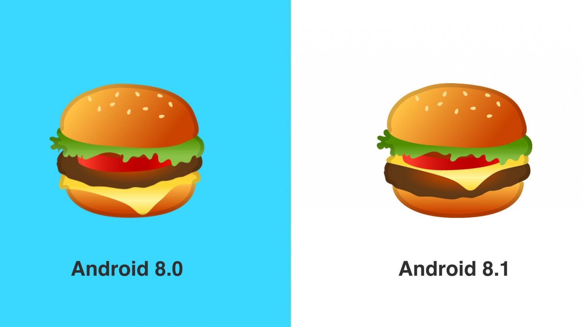 Burger-Emoji: Bei Android 8.1 liegt der Käse auf der Bulette | heise ...