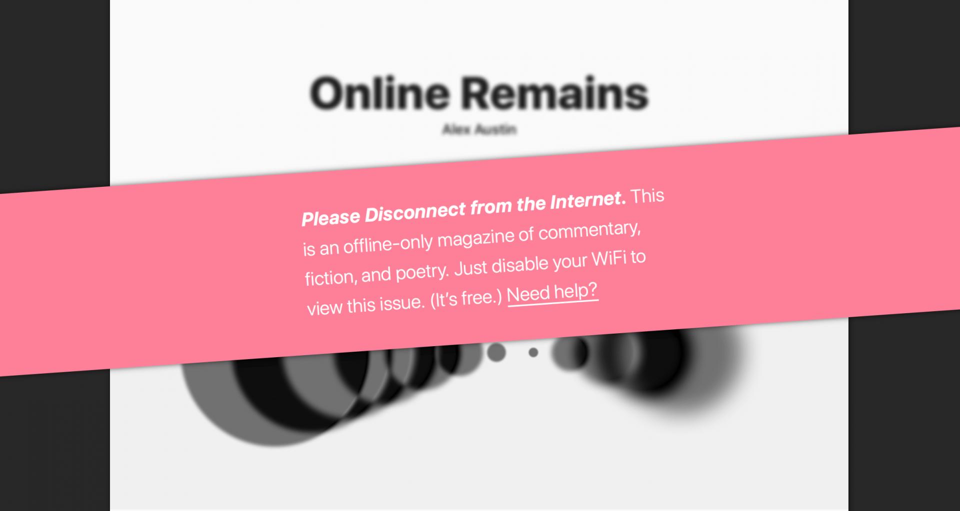 online magazin the disconnect l sst sich nur offline lesen heise online. Black Bedroom Furniture Sets. Home Design Ideas