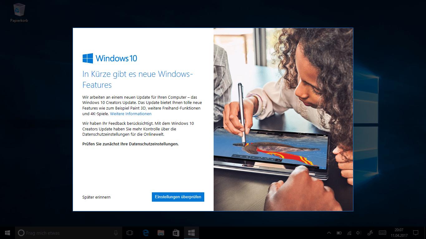 Windows 10: Creators Update jetzt auch per Windows Update | heise online