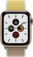 Apple Watch Series 5 (GPS + Cellular) 44mm Edelstahl gold mit Sport Loop kamelbraun