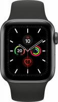 Apple Watch Series 5 (GPS) 40mm Aluminium space grau mit Sportarmband schwarz (MWV82FD)