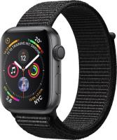 Apple Watch Series 4 (GPS) Aluminium 44mm grau mit Sport Loop schwarz (MU6E2FD/A)
