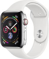 Apple Watch Series 4 (GPS + Cellular) Edelstahl 44mm silber mit Sportarmband weiß (MTX02FD/A)