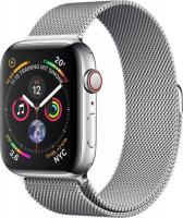 Apple Watch Series 4 (GPS + Cellular) Edelstahl 44mm silber mit Milanaise-Armband silber (MTX12FD/A)