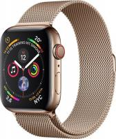 Apple Watch Series 4 (GPS + Cellular) Edelstahl 44mm gold mit Milanaise-Armband gold (MTX52FD/A)