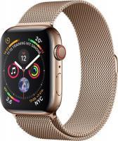 Apple Watch Series 4 (GPS + Cellular) Edelstahl 44mm gold mit Milanaise-Armband gold (MTX52FD/A)