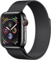 Apple Watch Series 4 (GPS + Cellular) Edelstahl 40mm schwarz mit Milanaise-Armband schwarz (MTVM2FD/A)