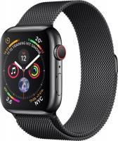 Apple Watch Series 4 (GPS + Cellular) Edelstahl 44mm schwarz mit Milanaise-Armband schwarz (MTX32FD/A)