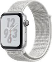 Apple Watch Nike+ Series 4 (GPS) Aluminium 44mm silber mit Sport Loop weiß (MU7H2FD/A)