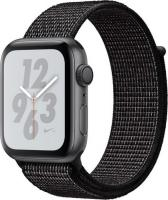 Apple Watch Nike+ Series 4 (GPS) Aluminium 44mm grau mit Sport Loop schwarz (MU7J2FD/A)