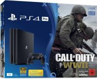 Sony PlayStation 4 Pro - 1TB, Call of Duty: WWII Bundle, schwarz