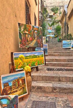 Gemälde Kunst am Stufenaufgang in Taormina von Jademax