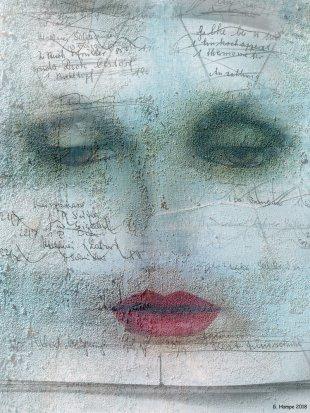 The woman with red lips von Gabi Hampe