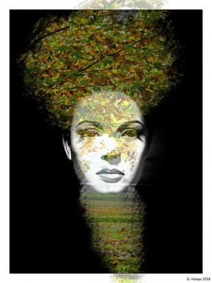 The woman with the leaves von Gabi Hampe