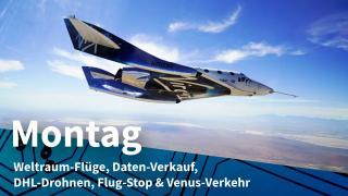 Virgin Galactic Raumgleiter im Flug über der Erde