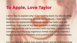 Brief Taylor Swift an Apple Music