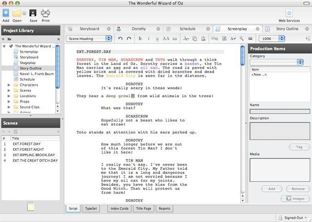 Consejos para el guion de rodaje en The Movies Celtx-1_1-1-5