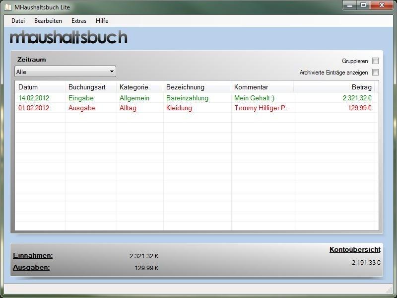 Mhbuchlite haushaltsbuch heise download for Klassisches haushaltsbuch