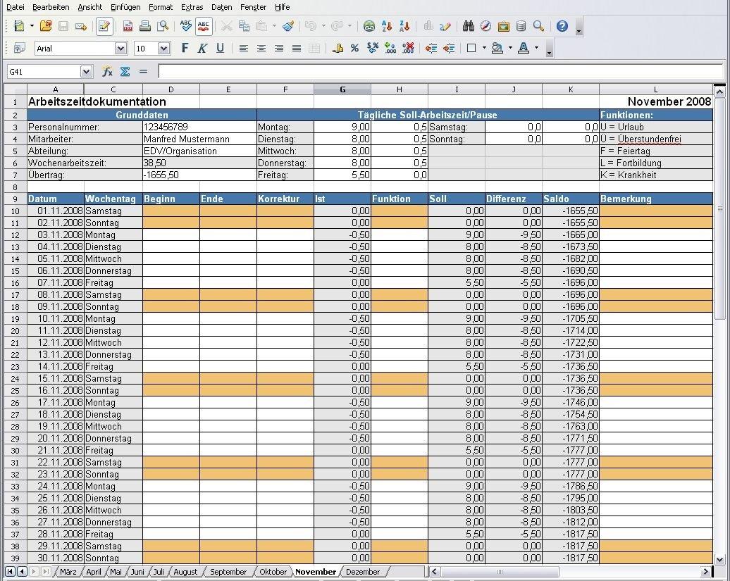 Open Office Arbeitszeitdokumentation | heise Download