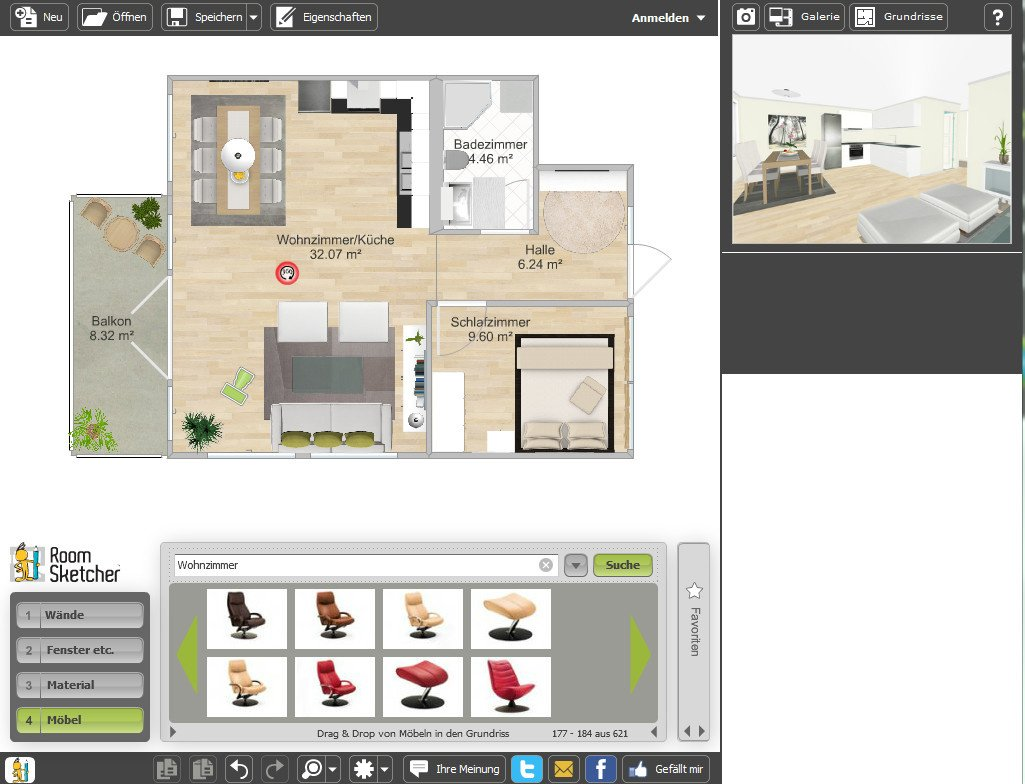 raumplaner roomsketcher download bei heise. Black Bedroom Furniture Sets. Home Design Ideas