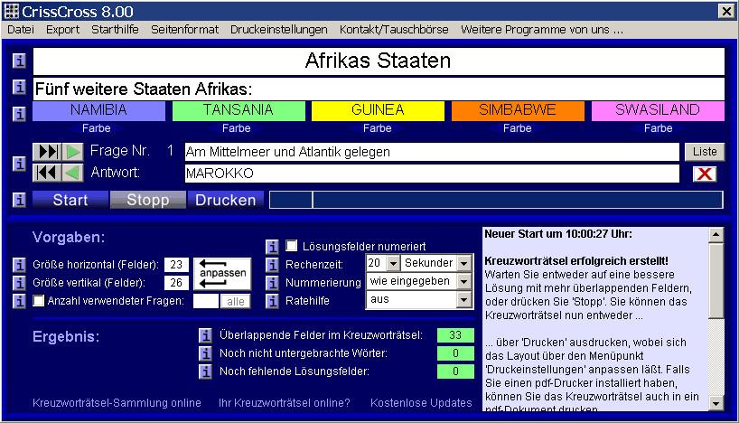 crisscross kreuzwortrtsel generator - Beispiel Kreuzwortratsel