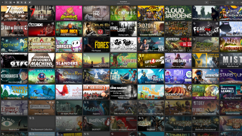 GameHub-Programmoberfläche mit Kacheln