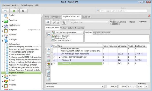Promet-ERP -> Warenwirtschaftssystem, Auftragssystem
