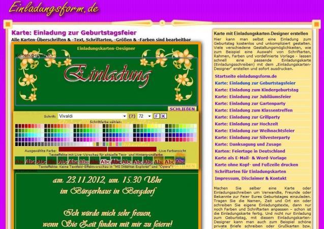 einladungsform.de | heise download, Einladung