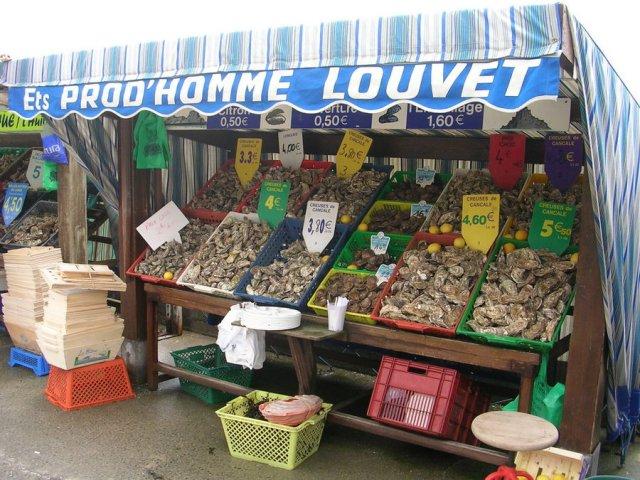 Austernverkauf im Hafen von Cancale von John Catley