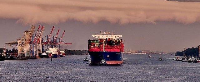 Containerschiff im Hamburger Hafen 1 von RüdigerLinse