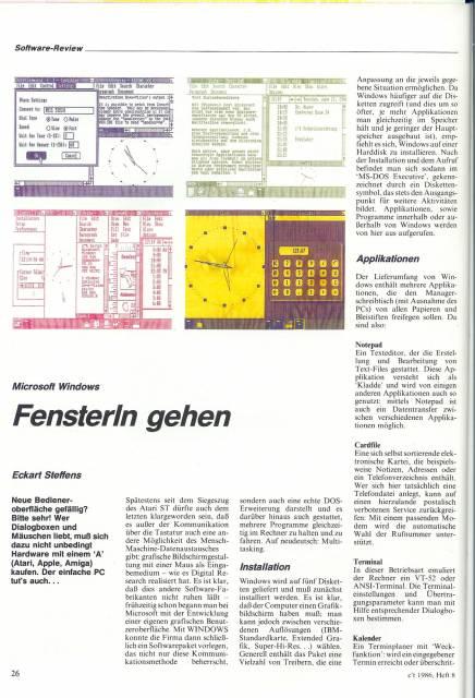 Windows 1.0 aus c't 8/1986