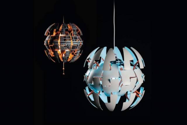 zwei ikea ps 2014 lampen eine im star wars design - Star Wars Todesstern Lampe