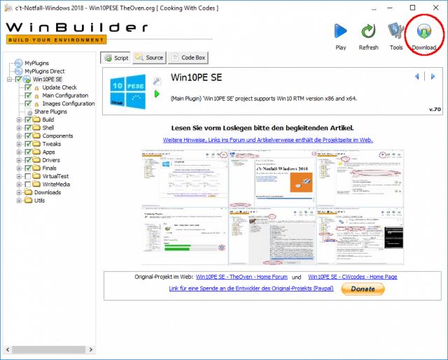 Screenshot, Winbuilder nach Aufruf