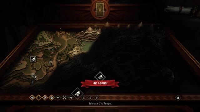 """Kartentisch in """"Hand Of Fate 2"""" auf dem man die nächste Herausforderung wählt"""